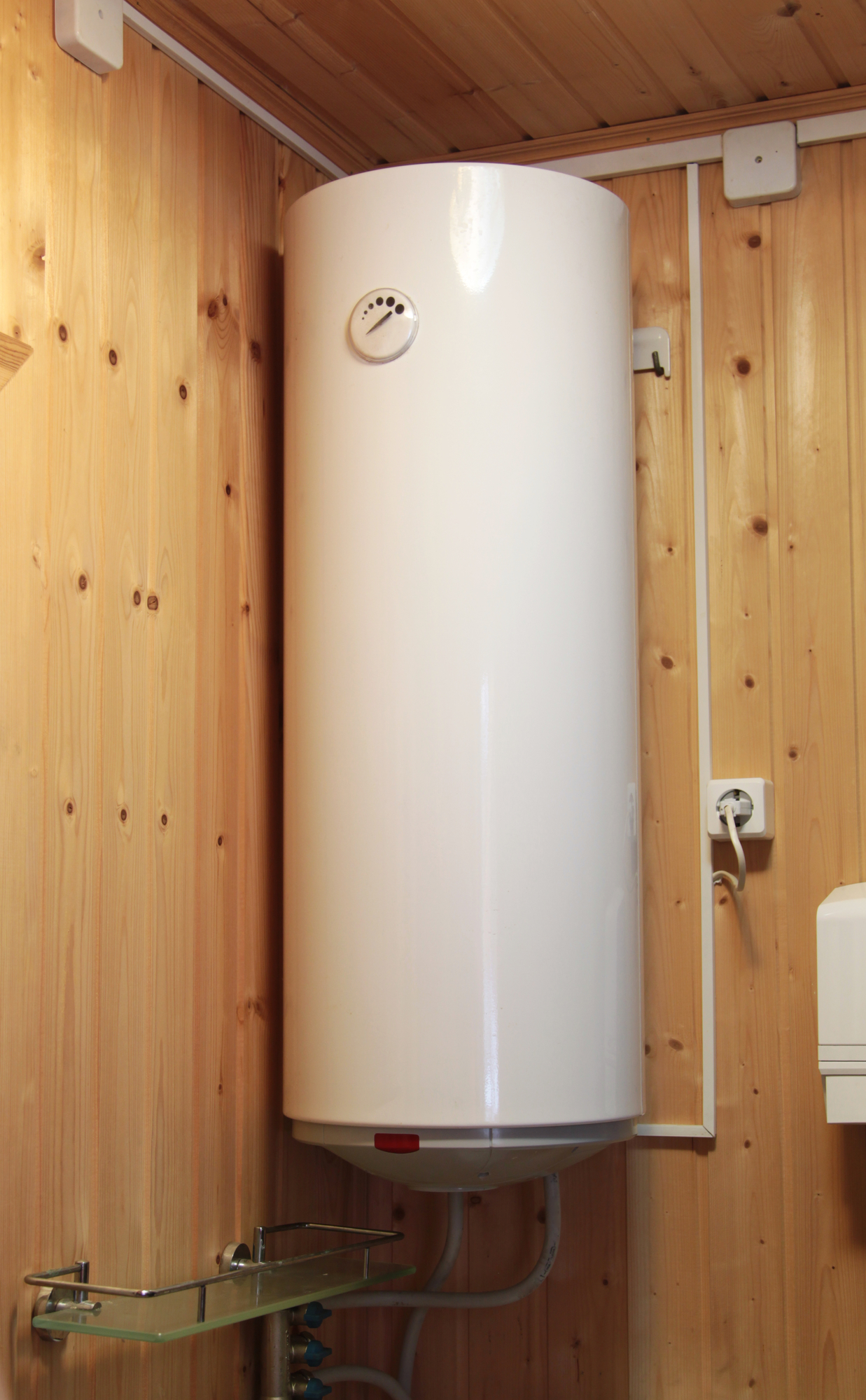 electric-hot-water-heater-wooden-wall