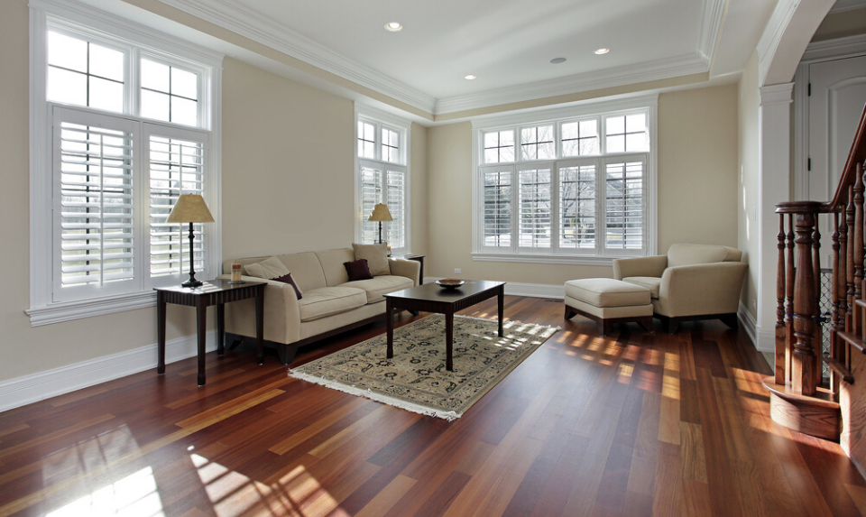 living room cherry wood floor