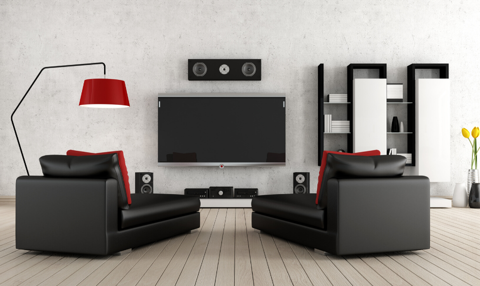 A complex home cinema has many different components.